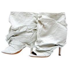 Maison Martin Margiela Wrinkled  Leather Peep-Toe Booties  39 NEW