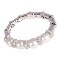 Maison Maurice White Gold South Sea Pearl 3.21 Carat Diamond Bracelet
