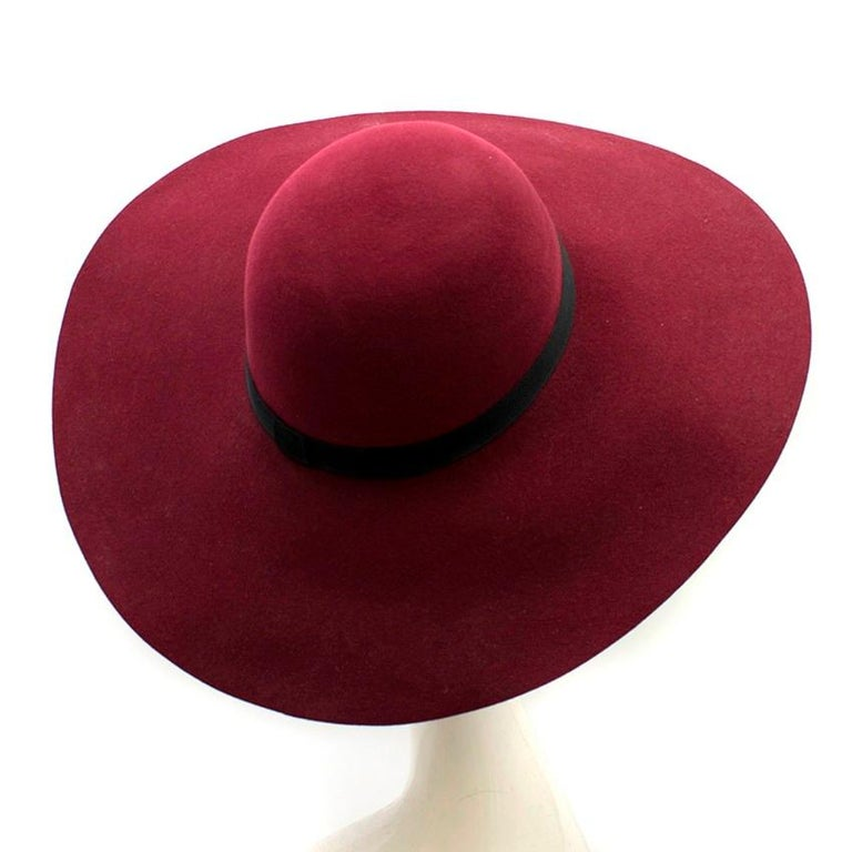 Red Maison Michel Burgundy Felt Wide Brimmed Hat