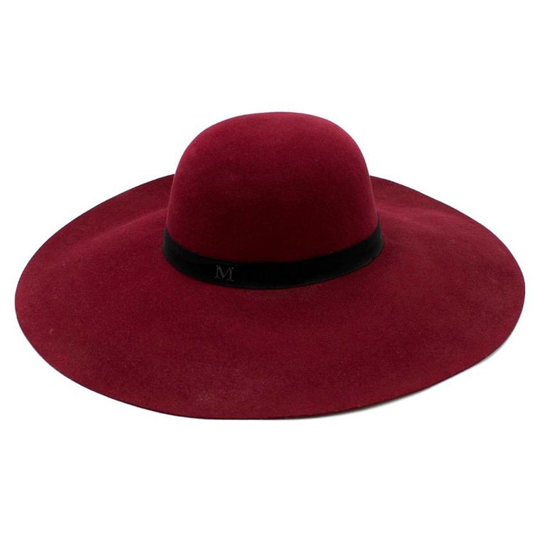 Maison Michel Burgundy Felt Wide Brimmed Hat In Excellent Condition In London, GB