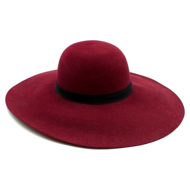 Women's Maison Michel Burgundy Felt Wide Brimmed Hat