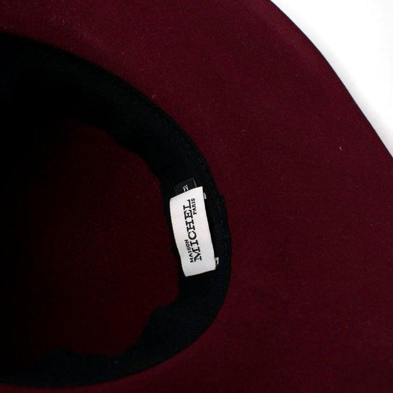 Maison Michel Burgundy Felt Wide Brimmed Hat 1