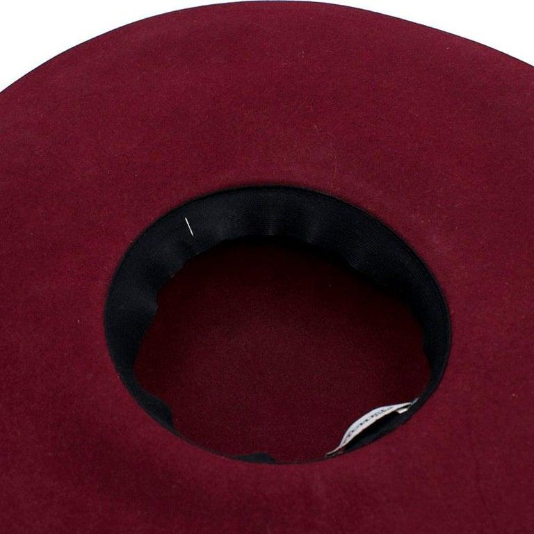 Maison Michel Burgundy Felt Wide Brimmed Hat 2