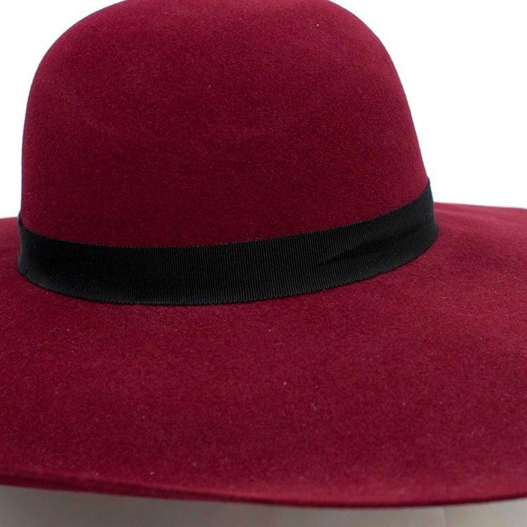 Maison Michel Burgundy Felt Wide Brimmed Hat 3