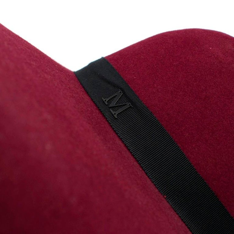 Maison Michel Burgundy Felt Wide Brimmed Hat 4