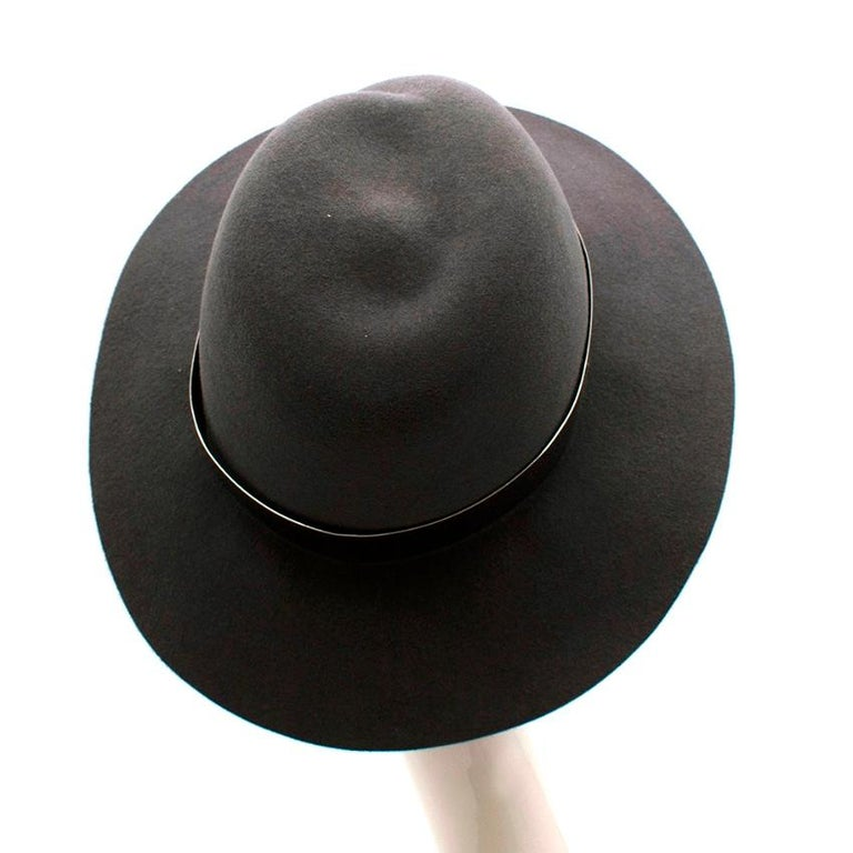 Gray Maison Michel Grey Felt Fedora Hat with Metal Band M For Sale