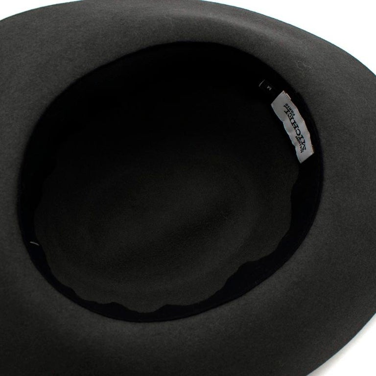 Maison Michel Grey Felt Fedora Hat with Metal Band M For Sale 1
