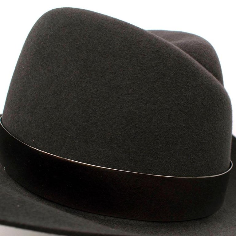 Maison Michel Grey Felt Fedora Hat with Metal Band M For Sale 2