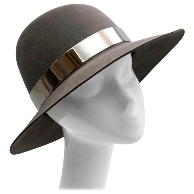 Maison Michel Grey Felt Fedora Hat with Metal Band M For Sale
