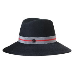 Maison Michel Kate Grosgrain-Trimmed Rabbit-Felt Fedora