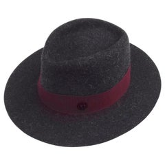 MAISON MICHEL Paris Andre Fedora Felt Hat in Charcoal Grey Size M