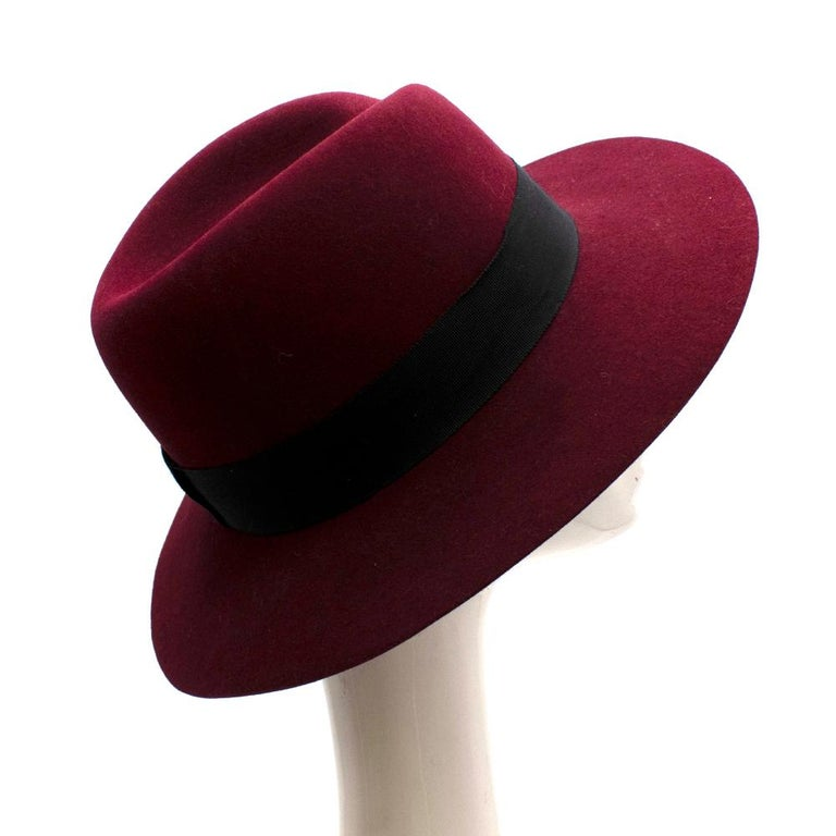 Maison Michel Paris Wool Felt Hat Bordeaux  - Grosgrain hatband  - Logo detail  - Composition: 100% Wool  - Bordeaux Colour   Materials: 100% Wool  - 55 cm