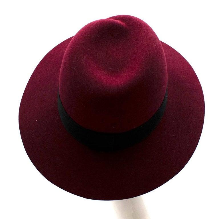 Black Maison Michel Paris Wool Felt Hat Bordeaux  For Sale