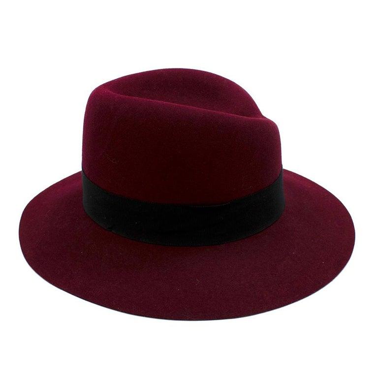 Maison Michel Paris Wool Felt Hat Bordeaux  In New Condition For Sale In London, GB
