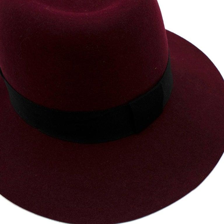 Women's or Men's Maison Michel Paris Wool Felt Hat Bordeaux  For Sale