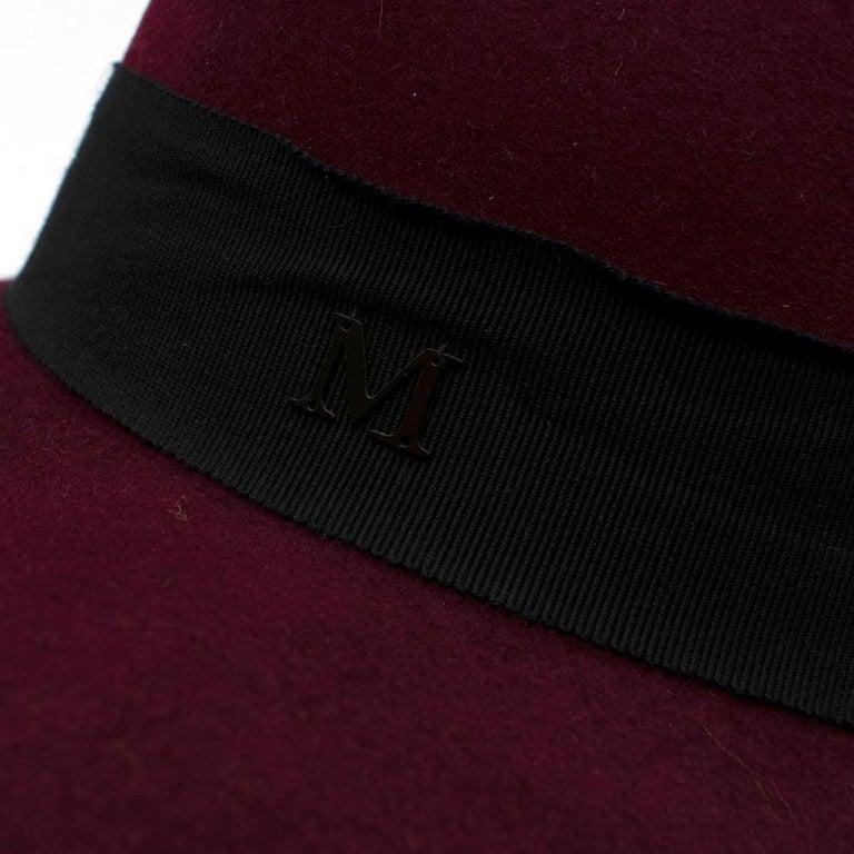 Maison Michel Paris Wool Felt Hat Bordeaux  For Sale 3