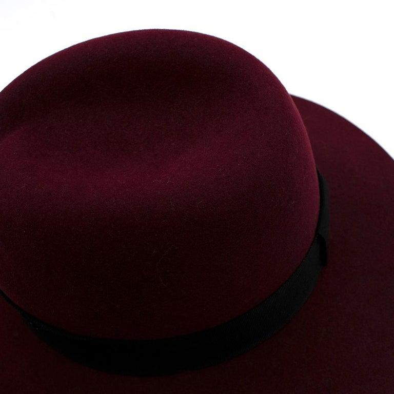 Maison Michel Paris Wool Felt Hat Bordeaux  For Sale 4