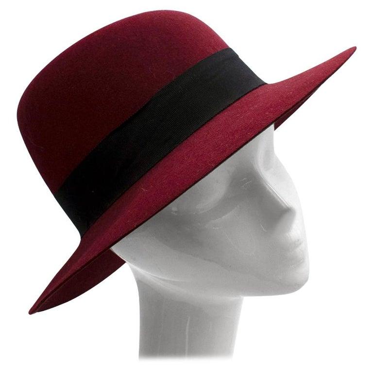 Maison Michel Paris Wool Felt Hat Bordeaux  For Sale