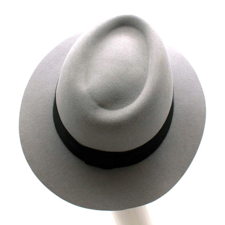 Gray Maison Michel Paris Wool Felt Hat Grey Medium For Sale
