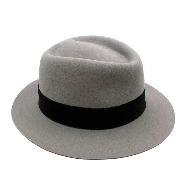 Maison Michel Paris Wool Felt Hat Grey Medium In New Condition For Sale In London, GB