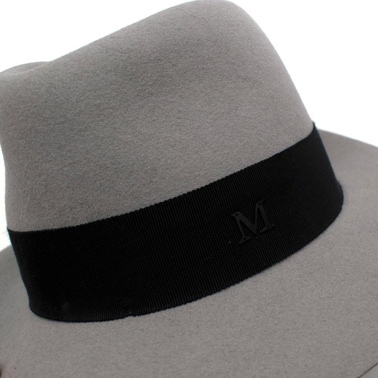 Women's or Men's Maison Michel Paris Wool Felt Hat Grey Medium For Sale