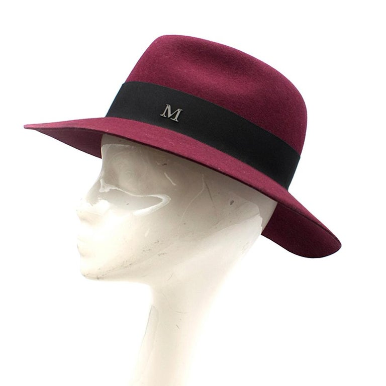 Maison Michel Virginie Burgundy Fedora S In Excellent Condition For Sale In London, GB