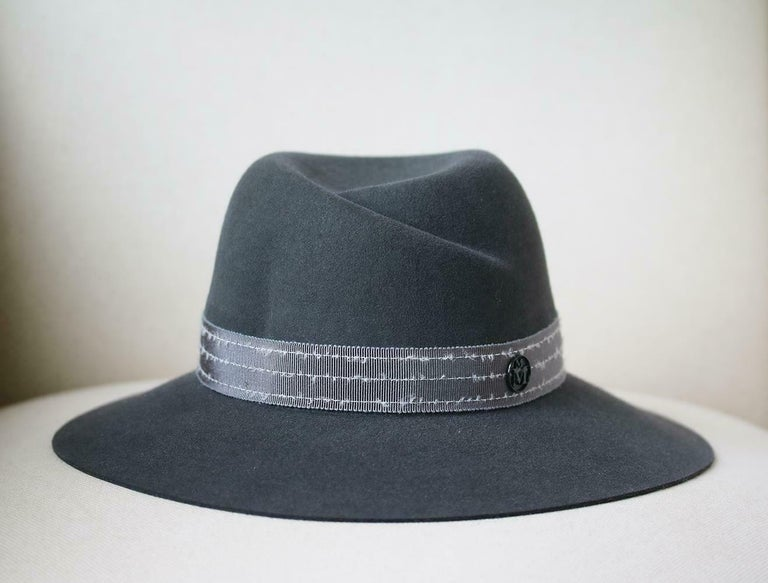 Gray Maison Michel Virginie Grosgrain-Trimmed Rabbit-Felt Fedora  For Sale