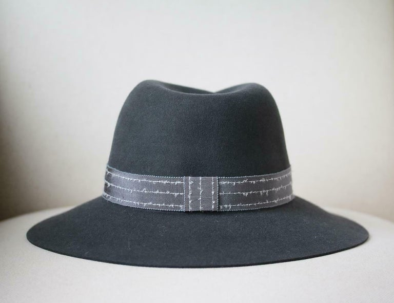 Maison Michel Virginie Grosgrain-Trimmed Rabbit-Felt Fedora  In Excellent Condition For Sale In London, GB