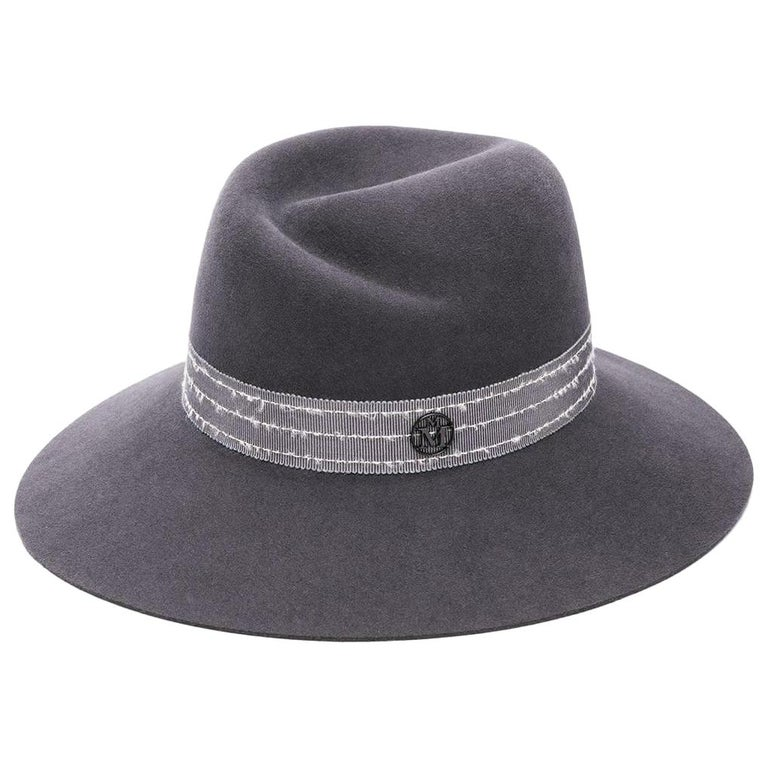 Maison Michel Virginie Grosgrain-Trimmed Rabbit-Felt Fedora  For Sale