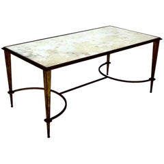 Maison Ramsay French Coffee Table Gilded Iron and Reverse Painted Mirrored Top