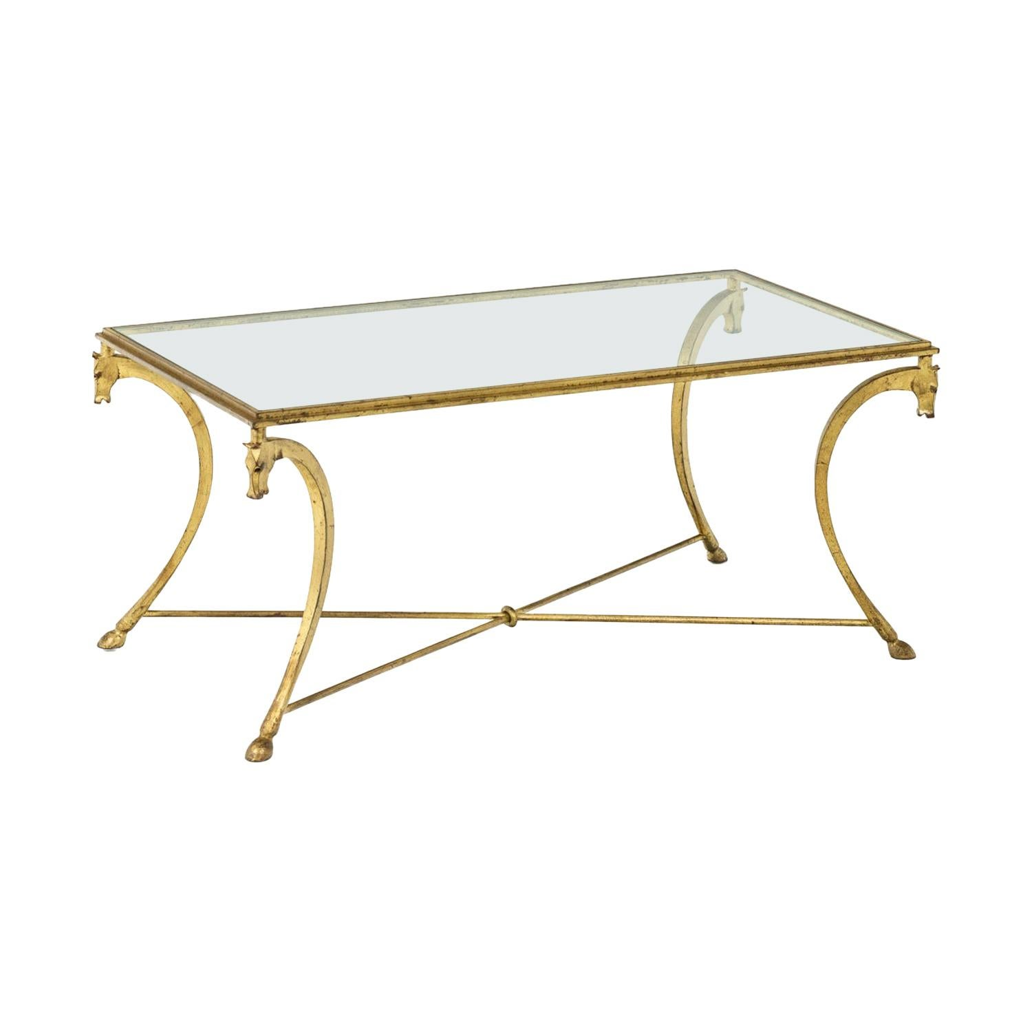 Maison Ramsay, Coffee Table in Gilt Iron, 1950's