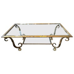 Maison Ramsay Double Tray Coffee Table Gilded Iron Gold Leaf Finishing, 1940s