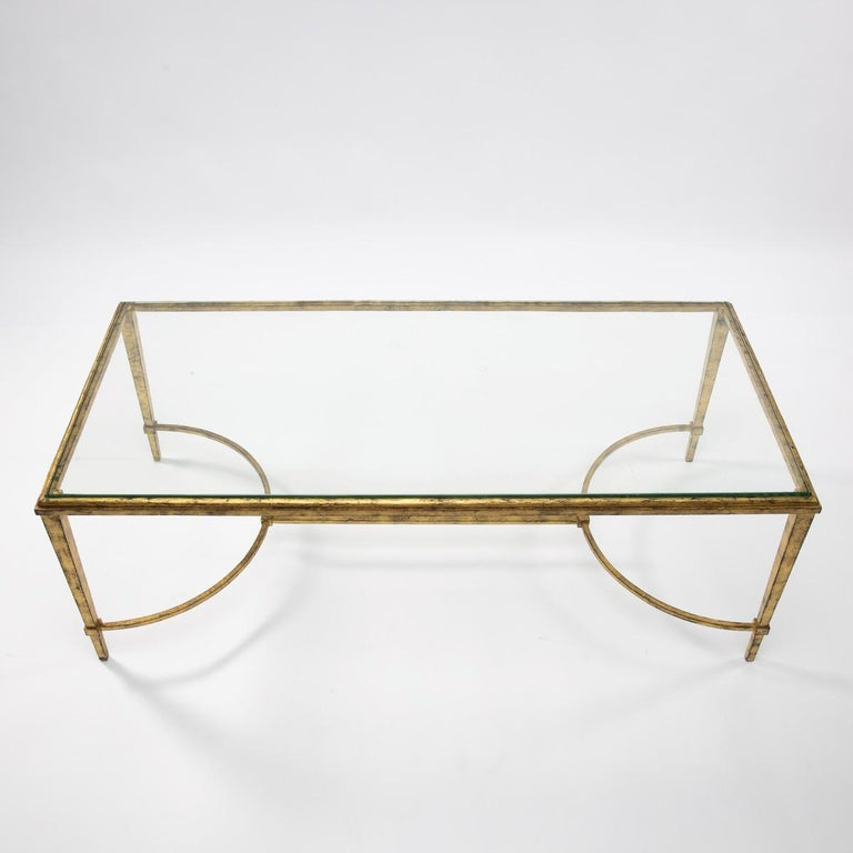 Mid-Century Modern Maison Ramsay, France, Golden Iron and Glass Coffee or Cocktail Table For Sale