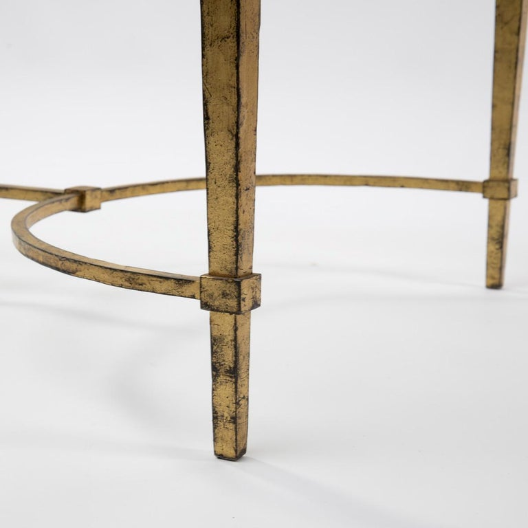 French Maison Ramsay, France, Golden Iron and Glass Coffee or Cocktail Table For Sale