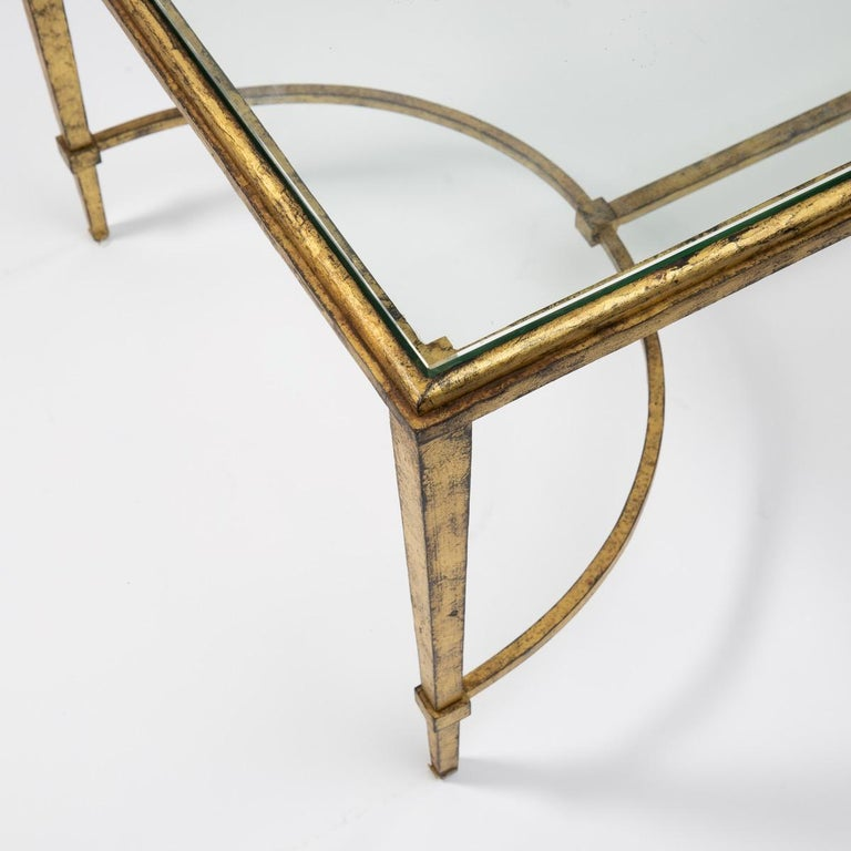 Maison Ramsay, France, Golden Iron and Glass Coffee or Cocktail Table For Sale 3