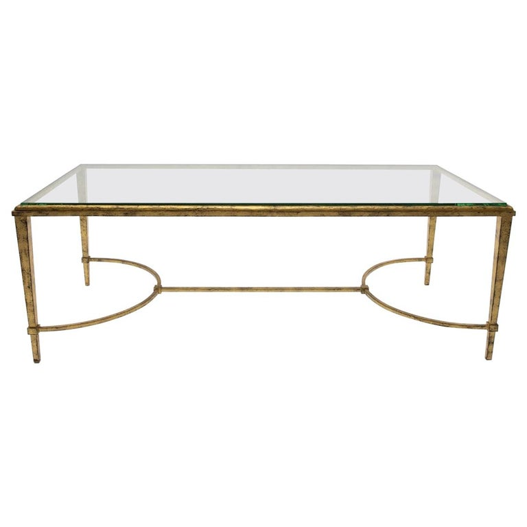Maison Ramsay, France, Golden Iron and Glass Coffee or Cocktail Table For Sale