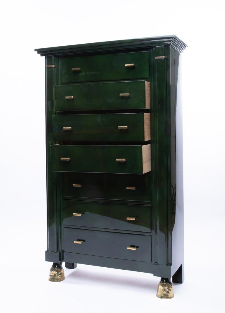 Neoclassical Maison Ramsay Paris, Green Lacquered Wood