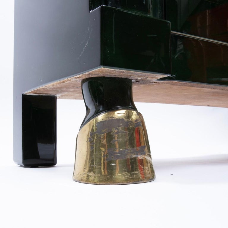 Mid-20th Century Maison Ramsay Paris, Green Lacquered Wood