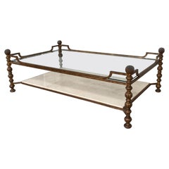 Maison Ramsay Style Double Tray Coffee Table Gilded Iron Gold Leaf Finishing
