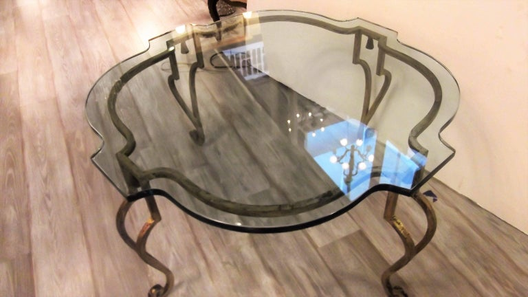 Mid-Century Modern Maison Ramsey Glass and Gilt Iron Cocktail Table For Sale