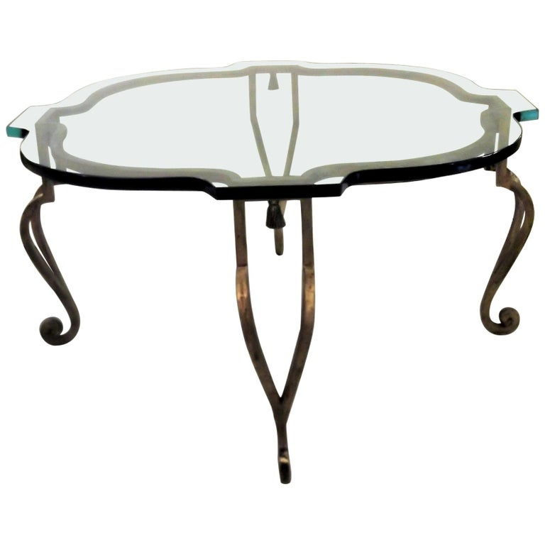Maison Ramsey Glass and Gilt Iron Cocktail Table For Sale