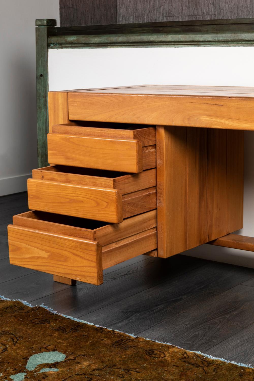 Maison Regain, Elm Desk, Pierre Chapo Style, 1950s at 1stDibs