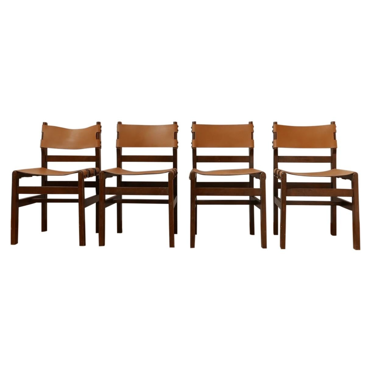 Maison Regain French Mid-Century Leather Dining Chairs '4'