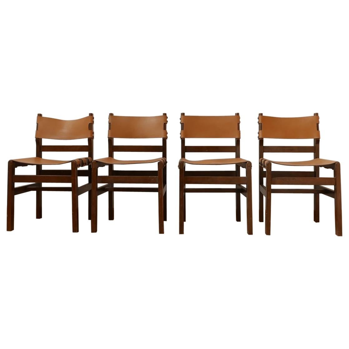 Maison Regain French Mid-Century Leather Dining Chairs Set No.2 '4'
