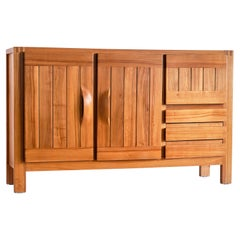 Maison Regain High Sideboard in Solid Elm, France, 1970s