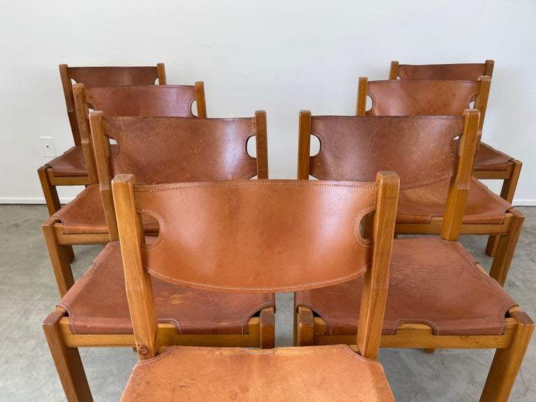 French Maison Regain Leather Dining Chairs For Sale