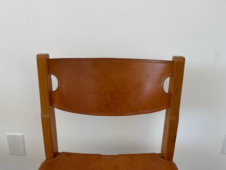 Mid-20th Century Maison Regain Leather Dining Chairs For Sale
