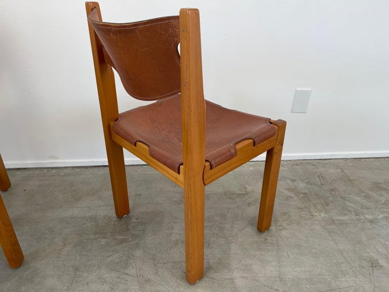 Maison Regain Leather Dining Chairs For Sale 3