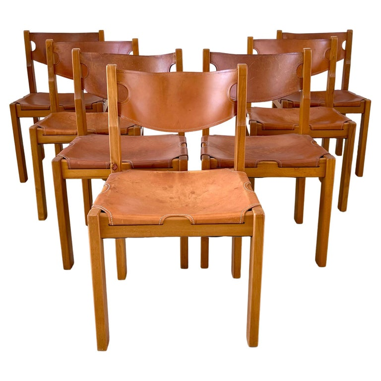 Maison Regain Leather Dining Chairs For Sale