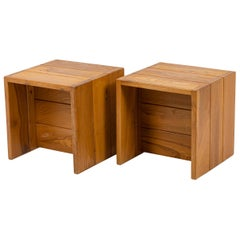 Maison Regain, Pair of Bedsides in Elm, 1960s